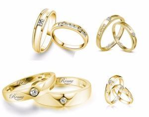 Argollas De Matrimonio Oro Amarillo 18k Compromiso X Par