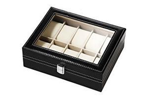 Negro De Lujo Del Cuero Caja De Reloj Caja De Presentación