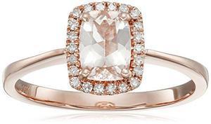 10k De Oro Rosa Y Morganita Diamante Del Anillo !