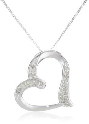 10k Oro Blanco Diamante Collar Colgante De Corazón !