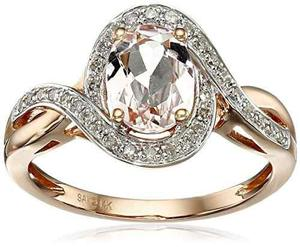 14k De Oro Rosa Morganita Y Diamante (1 / 6cttw, !