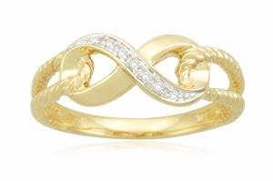 Anillo Infinity De Oro Amarillo Y Diamante Envio Gratis