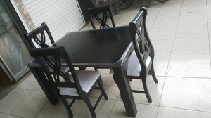 Comedor 4 puestos mesa cuadrada excelente estado posot class for Comedor 4 puestos madera