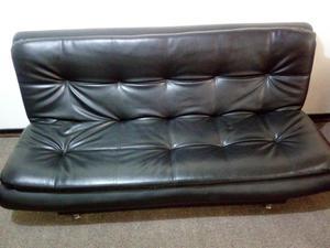 Sofa cama click en cuero sintetico negro posot class - Sofa cuero negro ...