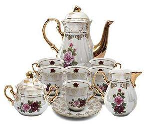 Porcelana Real 17pc Floral Juego De Té, 24k Chapado En Oro