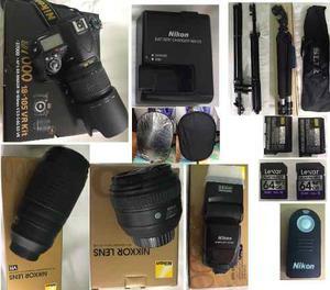 Kit Profesional Camra Nikon D Lentes 2 Baterías Y