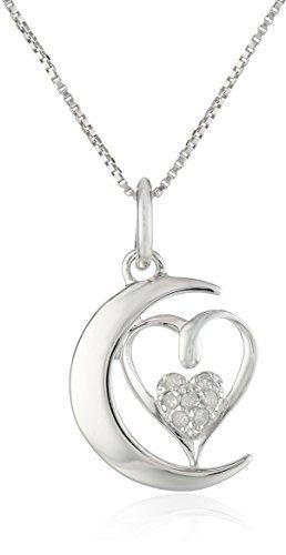 Plata Esterlina Del Corazón Del Diamante Acento Te !