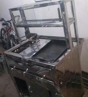 carro de comidas rápidas NUEVO con 3 servicios plancha,
