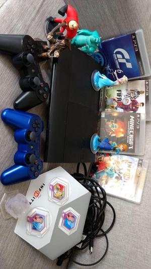 play station 3 slim con 5 juegos y 40 en la memoria