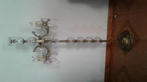 antigua lampara de pie, cristal y bronce, decorativa