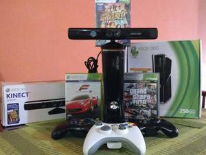 Xbox 360 Slim 250 Gb + 3 Controles + Kinect + 3 Juegos Orig.