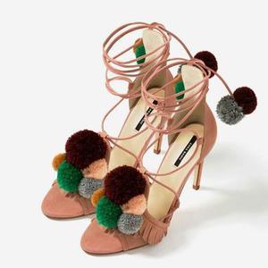 Sandalias En Cuero Genuino Marca Zara Para Mujer
