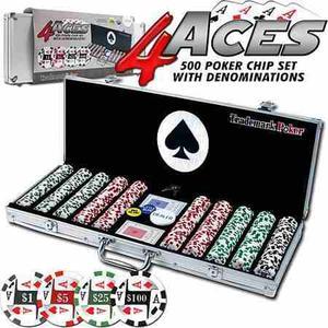 Set De Fichas 4 Ases Con Estuche De Aluminio Poker