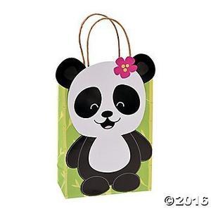 Bolsas Kraft De Papel De Regalo Partido De La Panda - 12 Ct