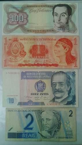 Lote De 4 Billetes De Diferentes Paises