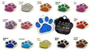 La Pata Del Brillo De Identificación De Mascotas Placas De