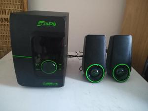Parlantes con bajo amplificador JR 28 W. Bluetooth, SD, USB
