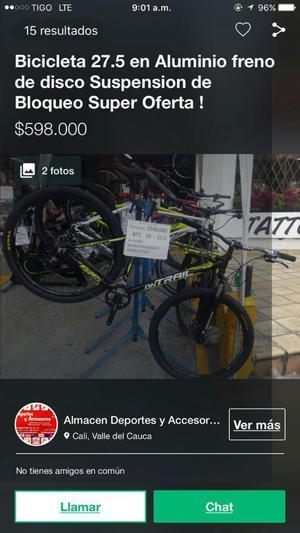 Bicicleta Rin 26 Aluminio freno de disco suspension