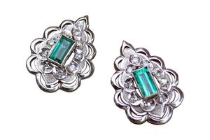 Aretes de Esmeralda 150 pt con Diamantes 70 pt