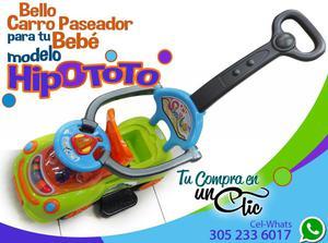 Bello Carro Paseador para Bebé, modelo HIPOTOTO Musical y