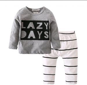 Busito Manga Larga Y Pantalón Para Bebé conjunto Lazy Days