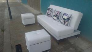 Sala moderna sofa cama con baul puff y mesa posot class for Salas con sofa cama