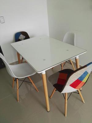 Comedor 4 puestos moderno madera vidrio posot class for Comedor 4 puestos madera