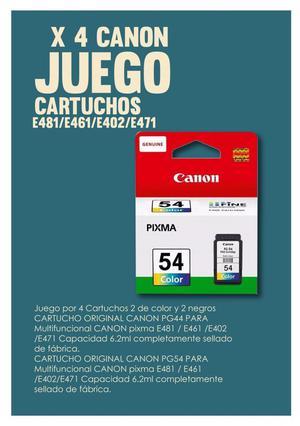 Juego X 4 Canon Cartuchos E481/e461/e402/e471
