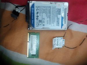 Vendo Memoria ram 1g, disco duro 320 gb