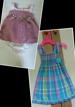 2 Vestidos para Bebe Talla 12 Meses