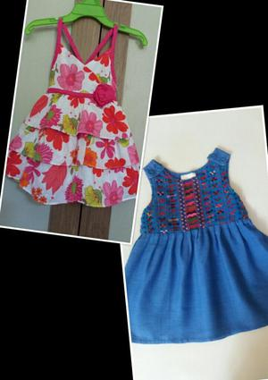 2 Vestidos para Bebe Talla 12 Meses, Lindos Colores