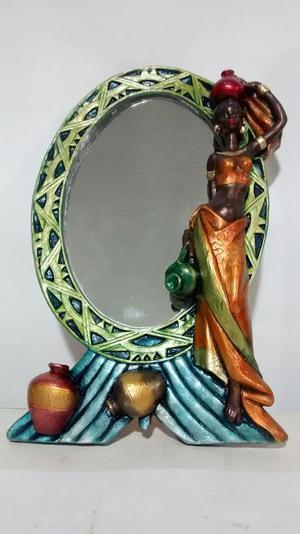 Espejo Africana en Yeso Metalizado