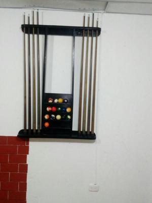 Mesa de billar pool con juego de bolas,tacos y porta tacos