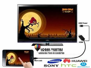 Cable De Celular Mhl A Tv Hdmi Usb Blanco Global Ventas