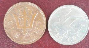 Barbados Duo De Monedas De 1 Y 10 Centavos