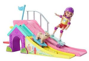 Barbie Chelsea & Puppy Skateboard & Ramp Muñeca