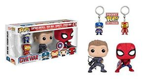 Funko Pop Marvel: Guerra Civil Hawkeye Spiderman, Iron Ma...