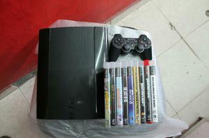 PS3 SUPER SLIM 250 GB. CON 9 JUEGOS FISICOS. 1 CONTROL.