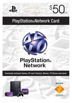 $50 Tarjeta De Playstation Network Para Ps3 Psn Psp * Nuevo