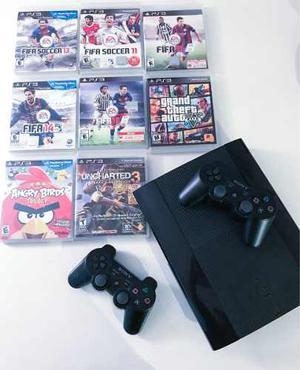 Playstation 3 Super Slim Con 2 Controles Y 8 Juegos