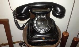 Antiguo Teléfono De Mesa Phillps Metal Y Vaquelita