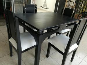 Comedor de 4 puestos color caf oscuro en madera posot class for Comedor 4 puestos madera