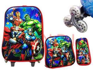 Kit Maleta 6 Ruedas+lonchera+cartuchera Avengers Batman Spid