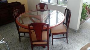 Mesa de comedor redondo con vidrio posot class for Comedor madera redondo