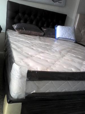 Base cama doble con espaldar 20 unidades posot class for Medidas colchon cama sencilla