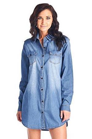 Edad Azul Chambray Mujer Mezclilla Camisa Blusa Vestido De