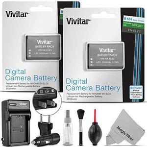 (pack 2) Vivitar At-el23 Batería Y Kit De Cargador Para