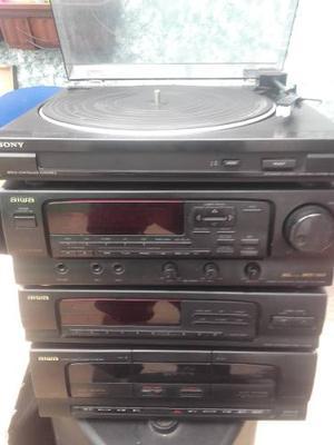 Equipo De Sonido Aiwa Con Tornamesa, Casetera, Radiomx