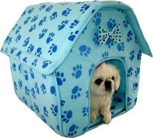 Cat/dog Pink Collapsible Paw Prints Pet House *blue*