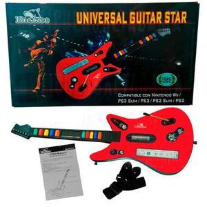 Guitarra Inalambrica Para Play Ps2, Ps3 Y Wii, Huskee Nueva
